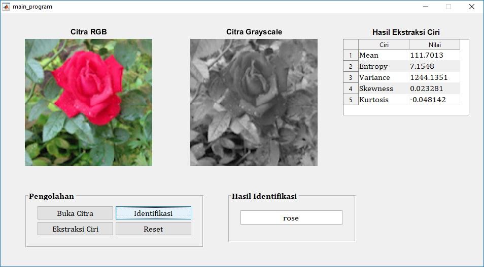 Identifikasi Jenis Bunga Menggunakan Ekstraksi Ciri Orde Satu Dan Algoritma Multisvm Pemrograman Matlab